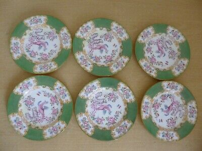 """6 Mintons Cockatrice 6"""" Side Plates - 4863 - Vintage - Green - 2 Sets Available"""