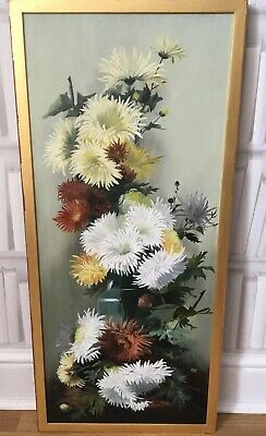 LARGE ANTIQUE 1906 FLORAL STILL LIFE OIL PAINTING CANVAS CHRYSANTHEMUMS Signed