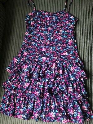 Girls Floral tiered Ruffle Dress Age 11-12 Years Worn Once
