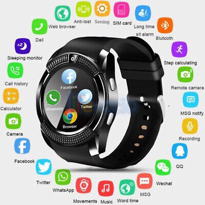 Men Women Bluetooth Smart Watch V8 SIM Slot Round Touch Screen for Android IOS