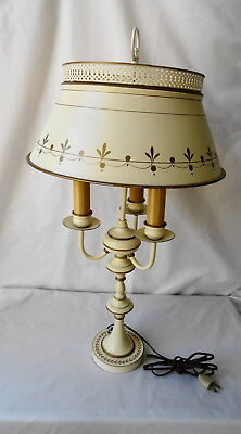 Vtg Mid Century Toleware Cream /Gold Table Lamp Student Desk 3 Bulbs