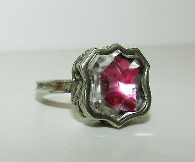 Superb, Antique, 18Th Century, Ca. 1750 Sterling Silver Stuart Crystal Ring