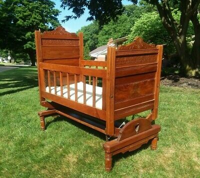 c1880s ANTIQUE VICTORIAN CARVED BURLED WALNUT BABY CRIB ROCKING CRADLE DOLL BED