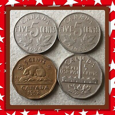 🇨🇦 1924-1933-1942-1951 Canada five cents Canadian nickel Coins #1629 🇨🇦
