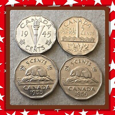 🇨🇦 1945-1951-1955-1959 Canada five cents Canadian nickels Coins #1634 🇨🇦