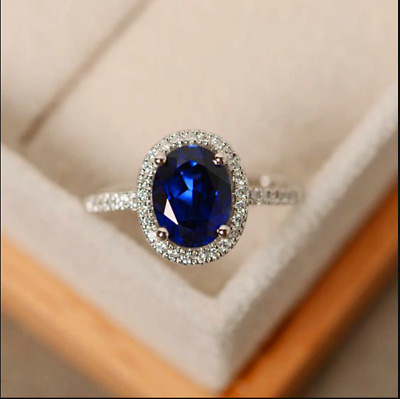 2.30Ct Oval Cut Blue Sapphire Halo Engagement Ring Solid 14K White Gold Finish