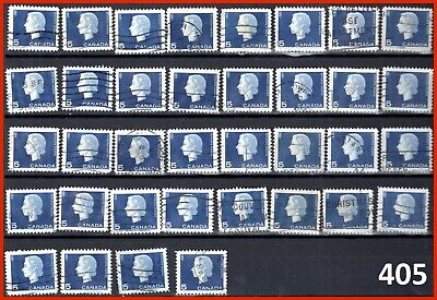 Canada Stamp Used Definitive Elizabeth II 5¢ 1963 #405,405as,405p (57 stamps)