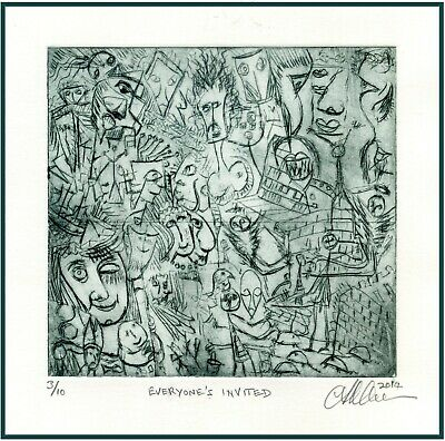 limited edition Original hard ground and drypoint etching print signed