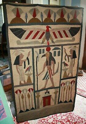 Antique Egyptian Revival Hand Sewn American Eroidered Curtain Panel Horus Isis