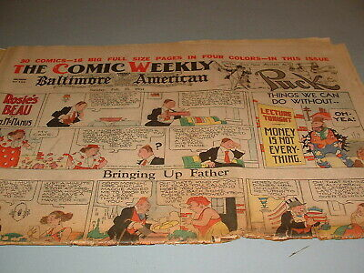 1934 SUNDAY COMIC WEEKLY, Big 2 Sections issue, Baltimore American, Mickey Mouse