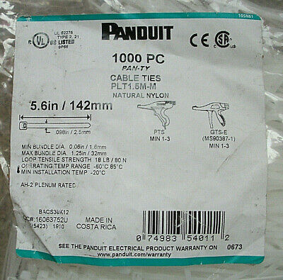 85eeab5b64ad PANDUIT CABLE TIES NOS PLT1.5S-M 1000 Pieces Nylon 6-3/8