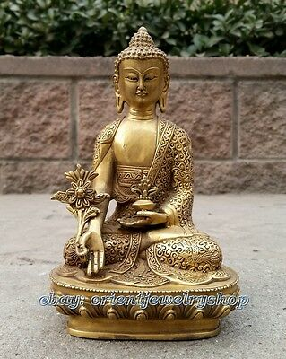Collectables! Dynasty China Old bronze Statue Unique Vintage Buddha Lucky 20cm