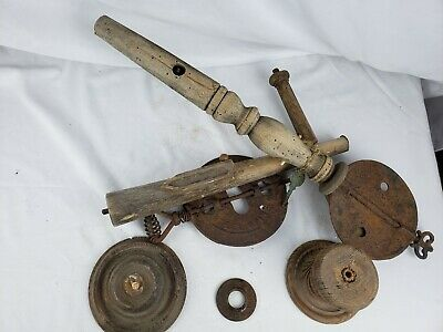 """Unusual old primitive sculpture/tool ? 21"""" wood and cast iron, some marks"""