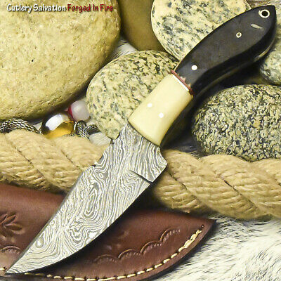Superb Handmade Damascus Steel Blade Full Tang | Skinner Knife | Ram Horn