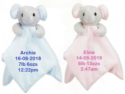 Personalised BABY ELEPHANT Comforter, Embroidered Comfort Blanket, Gift