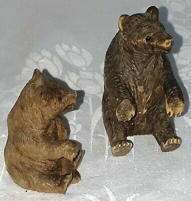 2 Bears Wooden Carved Black Forest Style Glass Eyes Vintage Age Miniature bwcb