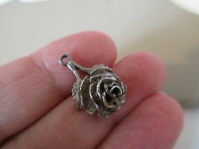 Antique Vintage English Sterling Silver Single Red Rose Flower Fob Charm Pendant