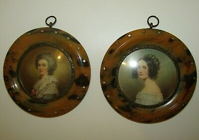 A Superb Pair Of Antique Georgian Miniature Portrait Paintings / Original Frames