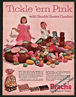 1962 BRACH'S Easter Candy Vintage Photo AD w/ Chocolate Bunny, Eggs Jelly Beans