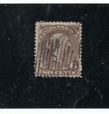 CANADA (KSG164) # 27 VF-USED 6cts  QUEEN VICTORIA/LARGE QUEEN/DARK BROWN CAT $60