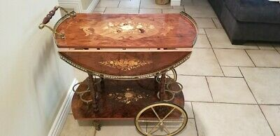 Vintage Italian Inlaid Marquetry Wood Serving Bar & Tea Cart Drop Leaf