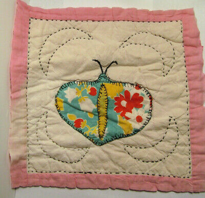 Vintage Cutter Quilt Piece ~ Primitive BUTTERFLY Shabby Chic Cottage Project