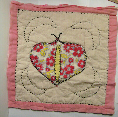 Vintage Cutter Quilt Piece ~ Primitive BUTTERFLY #2 Shabby Chic Cottage Project