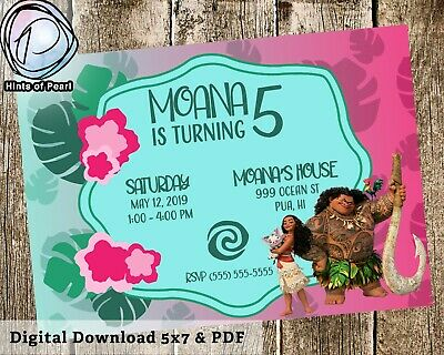 Moana Birthday Invite Pink Teal Bday Invitation Digital Download