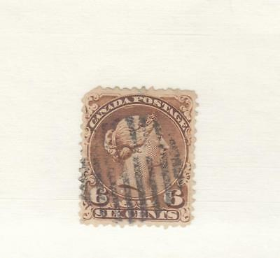 CANADA # 27a  FVF-USED  6cts QV LARGE QUEEN/ YELLOW BROWN CAT VAL $100