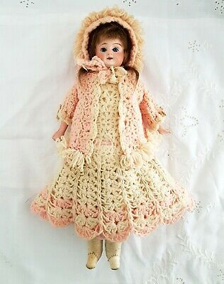 Antique German French Bisque Doll Kid Body * Real Hair Wig Exquisite Clothes 12""