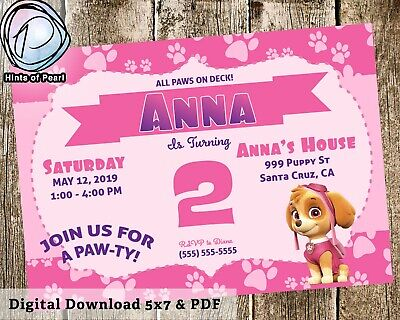 Paw Patrol Skye Birthday Invite Pink Purple Bday Invitation Digital Download