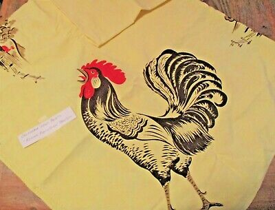 Vintage California Hand Prints 100%Cotton Yellow Tablecloth Rooster Farm 54 x 54