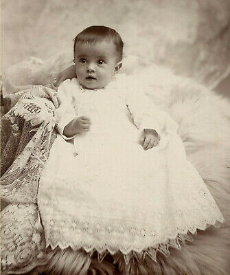 Antique Photo Cabinet Card CUTE BABY FASHION by SHORT'S STUDIO RONDOUT N Y