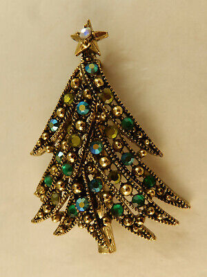 56ce86dee VINTAGE HOLLYCRAFT SET Christmas Tree Pin Brooch & Clip Earrings ...