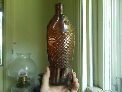 "9 5/8""LARGE SIZE FIGURAL FISH COD LIVER OIL MEDICINE BOTTLE ELI LILLY INDY 1920s"