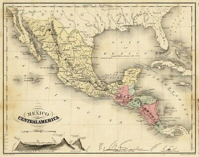 Map of MEXICO and CENTRAL AMERICA 1880 Wells n Sherman ATLAS extract
