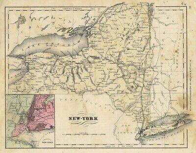 NEW YORK STATE MAP 1880s color RAND McNALLY city CLOSE-UP Staten Island CITY