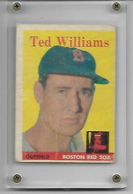 Ted Williams 1958 Topps Vintage Card #1 Boston Red Sox Hall Of Fame HOF