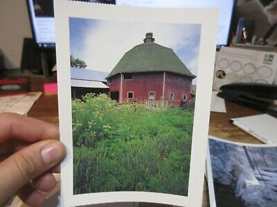 Vintage Old OHIO Postcard Miami County Octagonal Barn Farm 8 Sided Wooden Red