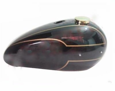 New Triumph T140 Black Painted Aluminum Gas Tank With Brass Cap and Tap CAD