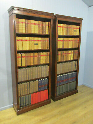 Pair Of Vintage Antique Regency Style Mahogany Open Tall Bookcases