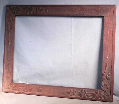 ANTIQUE Victorian Aesthetic Black Forest Carving Picture Frame Mahogany 14x20