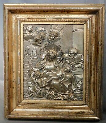 Antique 18th Century Silver Gilt Architecture Bronze Sculpture Holy Family Italy