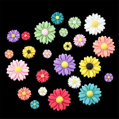 20 pcs Mixed Resin Cabochons Daisy Shaped Flatback Flower Decorations 8-27mm