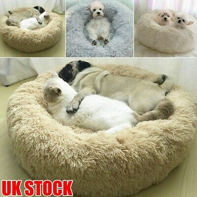 Pet Dog Cat Calming Bed Warm Soft Plush Round Cute Nest Comfortable Sleeping UK
