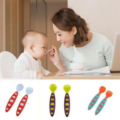 2Pcs Spoon And Fork Baby Soft PP Safe Tableware Feeding  LC