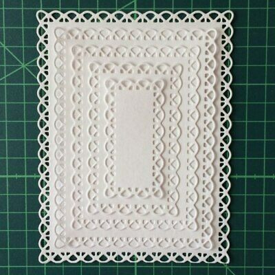 Nested Stitch Scallop Rectangle Cutting Dies DIY Etched Paper Card Scrapbooking