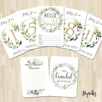 Baby, Milestone Cards Botanical unisex gender neutral, 28 cards 250gsm cardstock