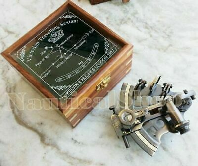 Handmade Wooden Box Marine Collectible Brass Nautical Sextant & German Astrolabe