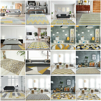Modern Geometric Grey Rugs With Mustard Yellow Small Large Big Rugs For Lounge